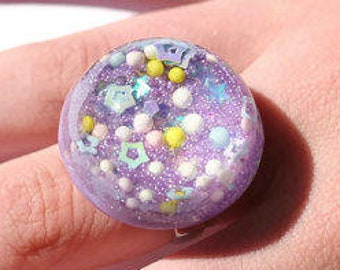 Kawaii Sprinkle Ring Lavender Purple Iridescent Ring Cute Statement Ring Pretty Blacklight Jewelry Unique Gift for Teenage Girls