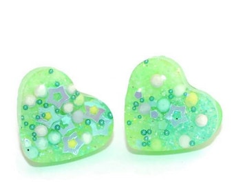 Lime Green Heart Earrings Glow in the Dark Stud Ear Post Jewelry Jelly Neon Blacklight Green Earrings Iridescent Surgical Steel