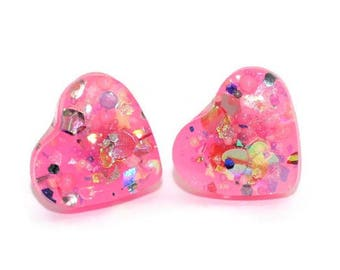 Bold Confetti Heart Earrings Kawaii Pink Glitter Sparkly Studs Cute Girly Cute Chunky Ear Studs Hypoallergenic Stainless Steel Posts