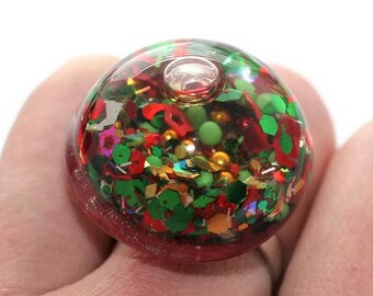 Holiday Ring Glitter Liquid Ring Shatter Proof Christmas Snow Globe Ring Shifting Lava Ring Water Glitter Ring Holographic Stim Jewelry