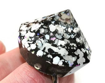 Black and White Ring Giant Spike Ring Diamond Statement Ring Cookies and Cream Cosplay Jewelry Funky Rave Party Jewelry