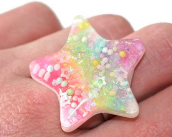 Glow in the Dark Rainbow Ring Star Pastel Goth Ring Kawaii Glow Jewelry