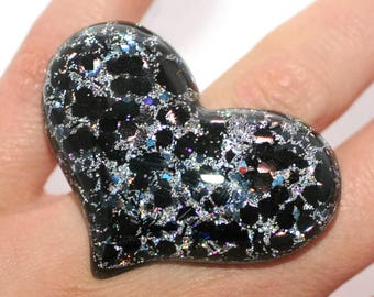 Black Silver Heart Ring Oversized Huge Statement RIng Big Cosplay Stage Jewelry
