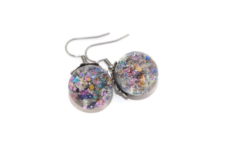 beauty Round Cut Rainbow Zircon Drop Dangle Earrings Holographic Colorful