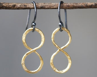 Infinity earrings in gold plated on brass with oxidized sterling silver hooks style(FBA)