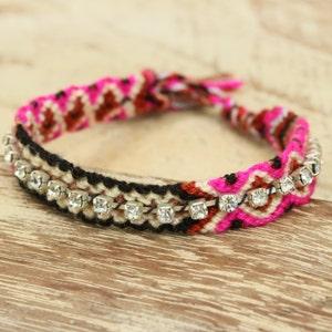Woven cotton friendship bracelets with fake diamond artificial gray pink,purple,,white