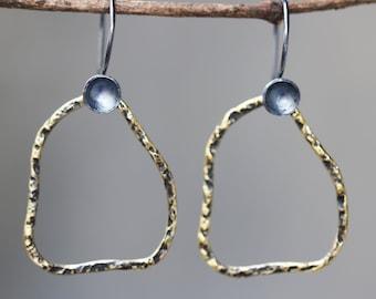 Freeform shape earrings brass in oxidized with sterling silver hooks style(FBA)