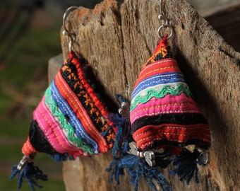 Thailand cotton tribal earrings with silver hardware