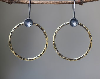 A circle earrings brass in oxidized with sterling silver hooks style(FBA)