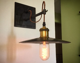 Industrial hanging pendant sconce light