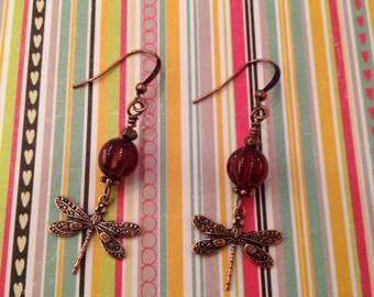 Czech Melin Raspberry Bead & Copper Dragonfly Earrings