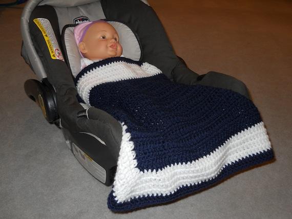 Crocheted Baby Carseat Snuggler Mini Afghan Blanket In