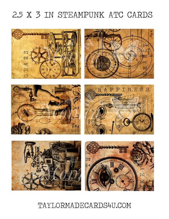 Artist Trading Cards Printable digital download Steampunk Ephemera Steampunk images Steampunk ATC Cards Printables Vintage