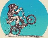 Bike Dog Wheelie Silkscreened Bike Art Print