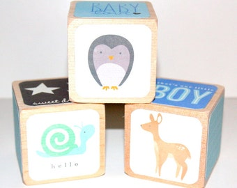 Children's Wooden Blocks - Baby Boy - Blue Nursery Room Decor - Owls - Forest Animals - 2 Inch Wooden Blocks