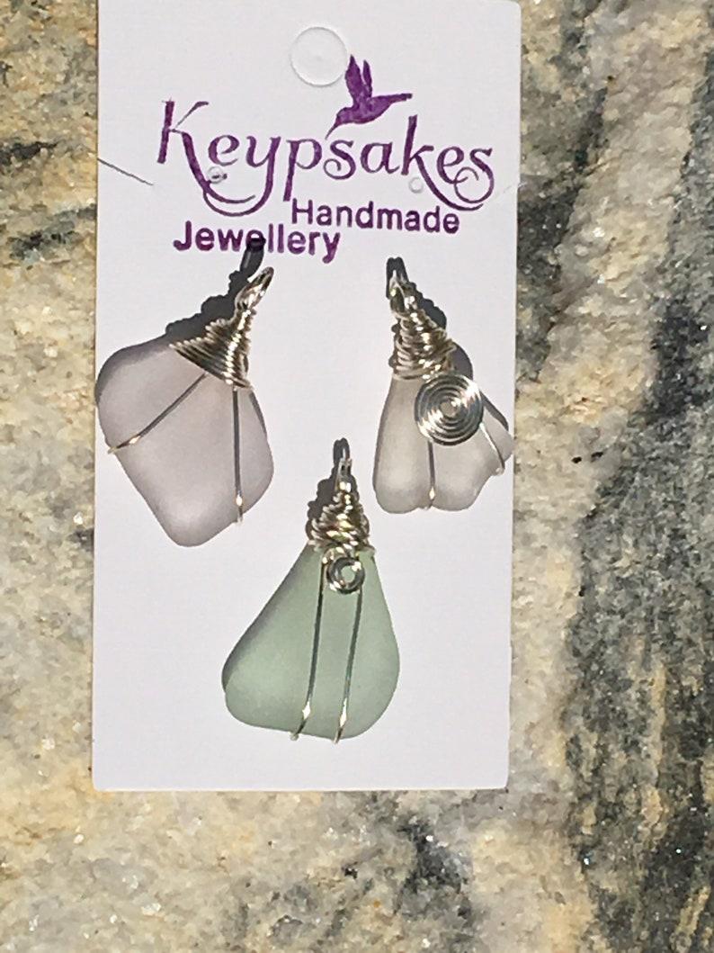 Sea glass necklace wire wrapped sea glass pendant silver plated snake chain sea glass pendant 16\u201d chain