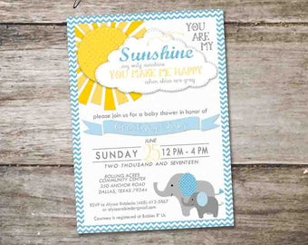 Baby Boy Elephant Baby Shower • You Are My Sunshine Baby Shower • You are My Sunshine Invitation • Elephant You Are My Sunshine Invitation