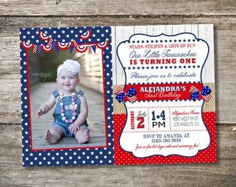 Fourth of July Birthday Party Invitation • Independence Day Birthday Invitation • 4th of July Birthday Party • First Birthday Party Invite