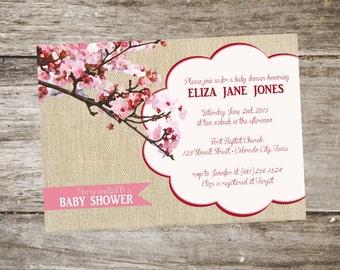 Blossom baby shower invitations etsy cherry blossom baby shower invitation modern baby shower invitation pink cherry blossom tree print 5x7 filmwisefo