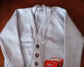 Hand knitted baby cardigan with Lightning McQueen embroidery