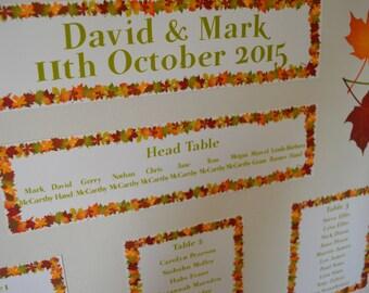 personalised wedding table plan, autumn leaves