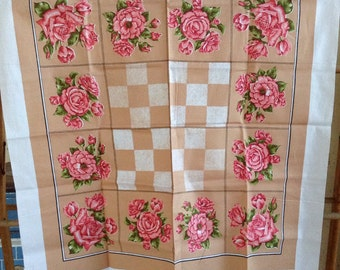 Vintage 100% cotton supper cloth tablecloth pink roses