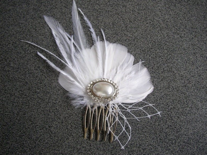 Feather Hair Clip Feather Hair Comb Feather Bridal Headpiece Wedding Accessories White Feathers Hair Piece Pearl Rhinestones Hairpiece