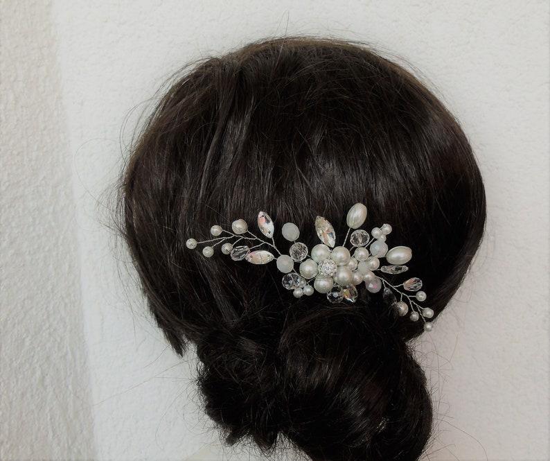 Wedding Headpiece Vintage Bride Accessories Rhinestones Hairpiece, Pearl Crystal Bridal Hair Comb