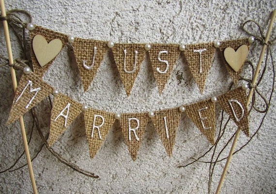 Just Married Rustic Cake Topper Banner Hessian Wedding Etsy