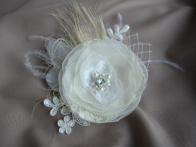 hochzeit haar accessoires elfenbein lace haarteil feder etsy. Black Bedroom Furniture Sets. Home Design Ideas