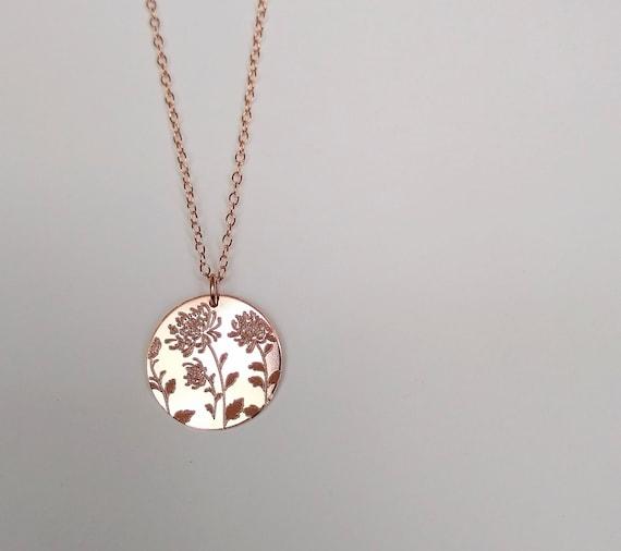 pressed flower necklace chrysanthemum necklace birth flower jewelry November birth flower necklace