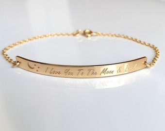 """Gold """"I Love You To The Moon And Back"""" Bar Bracelet - Custom Engraved Message - Personalized Bar Bracelet"""