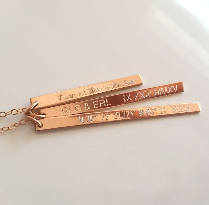 Custom Engraved Nameplate Long Rose Gold Bar Necklace Personalized Bar Necklace Mixed Varied Length Bar Necklace Multi Bar