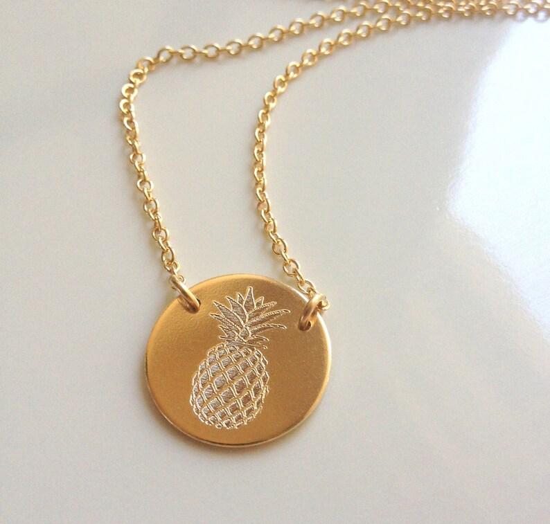 093cd6331e Gold Pineapple Necklace Pineapple Pendant Summer Whimsical | Etsy