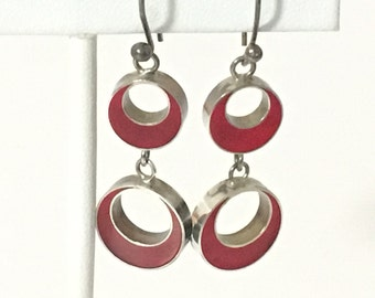 Red Inlay Circles Dangle Earrings 925 Sterling Silver gw16-457