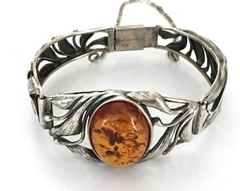Hinged Amber Resin Bracelet 925 Sterling Silver L18-02