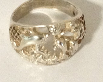 Dancing Dolphins at Sunset 925 Sterling Silver Ring Size 8.5 ts15-072