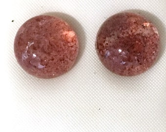 Strawberry Quartz Round Cabochon Post Earrings 925 Sterling Silver gs-032
