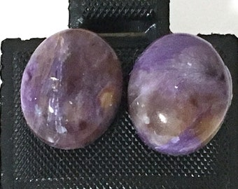 Purple Charoite Oval Cabochon Post Earrings 925 Sterling Silver gs-030