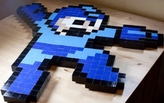 8-bit Mega Man wall art large   Etsy