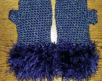 Soft and cozy purple fuzzy fingerless gloves. Texting gloves. Driving gloves. Hand crocheted.