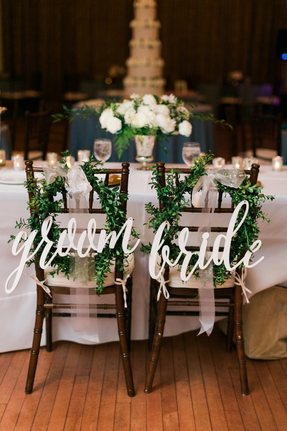 Chair back signs bride and groom calligraphy wedding decor etsy image 0 junglespirit Choice Image