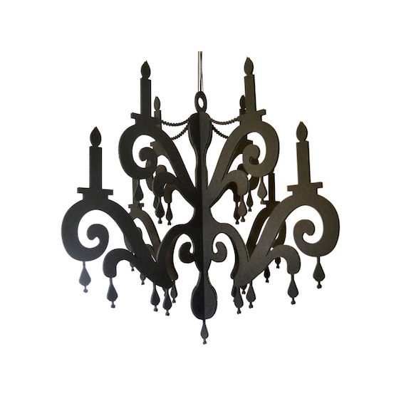 Chandelier with jewels elegant black home party decor mozeypictures Choice Image