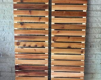 Modern wood slat house shutters (pair)