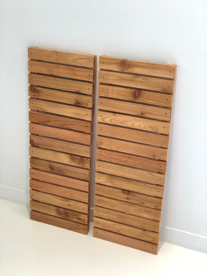 Modern wood slat house shutters pair image 0