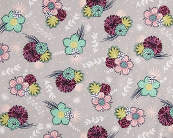 Pimsy Mint Floral On Gray Fabric