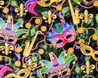 Mardi Gras Party Mask Fabric - 100% Cotton Quilting Apparel Crafts Home decor
