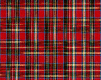 Red Royal Stewart Tartan Plaid Fabric  -  100% Cotton Quilting Apparel Crafts Home decor