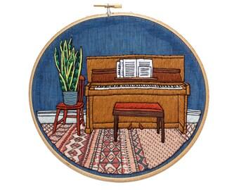 August Piano Room PDF Embroidery Pattern / Sarah K. Benning Monthly Pattern Program 2021  / #SKBDIY