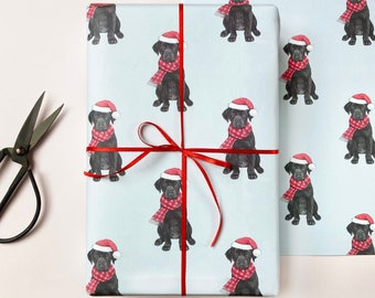 Festive Black Labrador Christmas Wrapping Paper